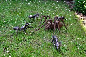 kovaná plastika mravenci útočící na pavouka